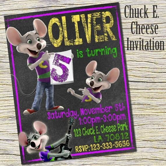 Chuck E Cheese Birthday Invitation Chuck E Cheese Chalkboard