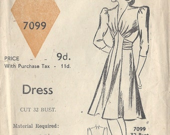 "1940s Vintage Sewing Pattern DRESS B32"" (47) Blackmore 7099"