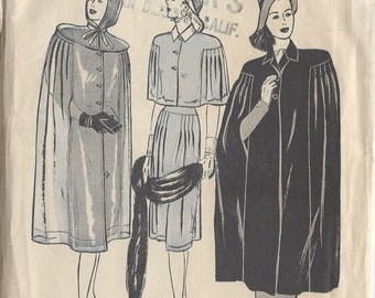 """1940s Vintage Sewing Pattern CAPE B34""""-36"""" & HOOD (R363)  Butterick 4141"""