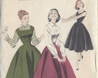 "1950s Vintage Sewing Pattern B29"" Jumper Dress  -SKIRT-BLOUSE (R489)  Butterick 7455"