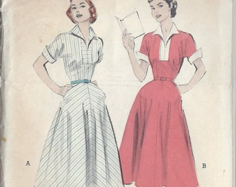 "1950s Vintage Sewing Pattern B34"" DRESS (R180) Butterick 6431"