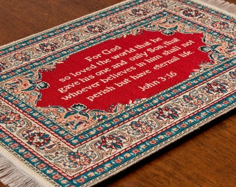 LOGOSPAD Woven Turkish Mini Rug/Carpet Christian Mouse Pad With Bible Verse  John 3: