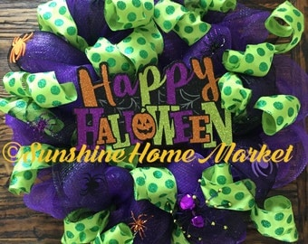 Halloween purple, black, and green  wreath with spiders