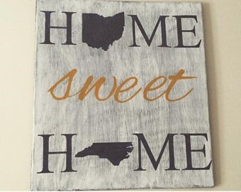 "Home Sweet Home State 16""x24"" Wood Sign"