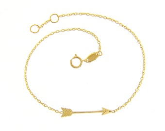 750/000 Gold arrow bracelet in pink gold, yellow and white