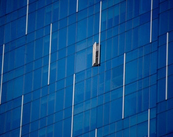 Blue Abstract Art Print – Architectural Travel Photograph Glass And Metal Building Exterior Small Wall Art