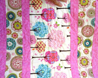 Baby Girl Quilt Tress in pinks, blue, yellow polka dots