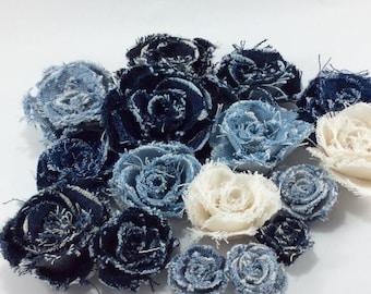 DIY Wedding Fabric flower,denim rose, Brooch,outfit,decorations,wrist corsages.
