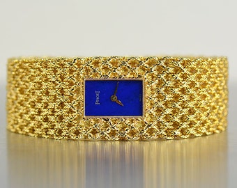 Piaget Bracelet Watch 18K Yellow Gold with Blue Lapis Lazuli Dial. VERY RARE