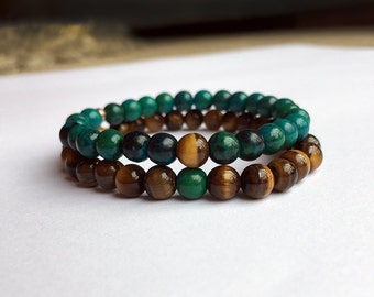 Couples Matching Bracelet - Hematite, Lapis Lazuli, Chrysocolla, Rose Quartz, Tiger Eye Beads, You complete me, his and hers, Valentines
