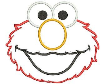 Elmo Applique Design, Sesame Street Machine Embroidery Design, Elmo Face Applique, Instant Download Pattern