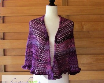 Circular Purple Shawl / Acrylic / Wrap / Women's Gift Idea / Warm / Handmade Crochet / Ruffled Edge / Medium / Large