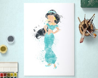 Jasmine, Disney Princess, Aladdin Poster, Watercolour Art, Printable Instant Download