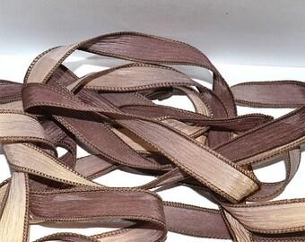 "1PC. VANILLA TWIST 42"" hand dyed wrist wrap bracelet silk ribbon//Yoga wrist wrap bracelet ribbons//Hand dyed Boho Silk wrist wrap ribbon"