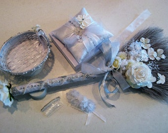 White Rose Bling Wedding Broom with coordinating Flower Basket, Ring Bearer Cushion, and Hair Accessories