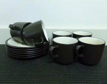 """Vintage Retro Mikasa Terra Stone """"Vanilla"""" 8 Cups/Mugs 8 Saucers Tea Set/Coffee Set (D1955)-Japan"""