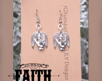 SIlver ILY n Wings Earrings