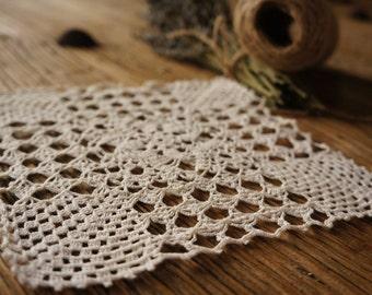 Charming vintage crotchet doily, antique lace, handmade doily, craft supply, crotched lace, vintage sewing, lace doily, vintage lace,