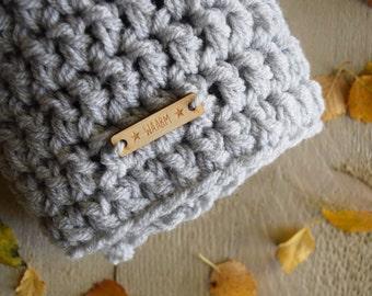 Cowl Shawl Light Grey Teen/Adult Crocheted WAARM Acrylic