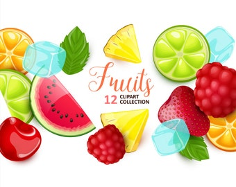 Fruits and berries clipart. Vector clip art collection.