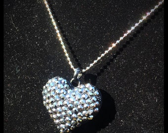 Silver rhinestone heart necklace