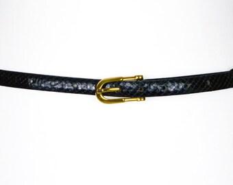Patent Faux Snakeskin Belt UK XXS/XS/S