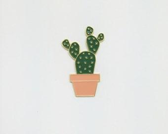 Teddy Cactus in Peach Pot Enamel Pin