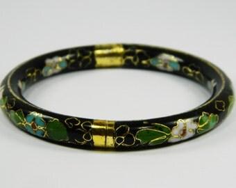 Vintage Black Cloisonne Copper Brass Enamel Item Hinged Bracelet Bangle,Muticolor Blossom Floral Pattern,Chinese Traditional Handicraft