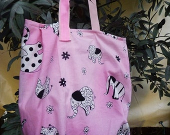 Tote bags for children, pink elephants, girl bags, crossover