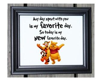 Winnie the Pooh Cotton Print | Any Day Spent With You | Winnie the Pooh Quote | Pooh Bear | Tigger | Winnie the Pooh Nursery Decor | Pooh