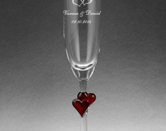 Wedding gift - champagne glass Lamour with red hearts in the stem and engraving