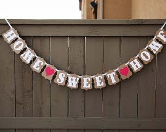 HOME SWEET HOME banner for Housewarming Party, New Home, First Home, Family Home | Kraft & White with Red Hearts