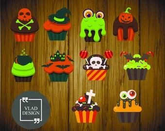 10 Design Halloween Clipart Halloween Candy Digital Halloween Cupcake Cute Halloween graphics Halloween cakes Digital Halloween