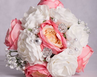 Pink Tea Rose and White Foam Rose Hand-Tied Wedding Bouquet