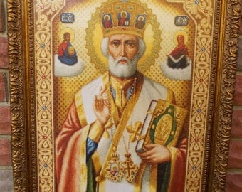 "Handmade cross stitch icon ""Icon of St. Nicholas"""