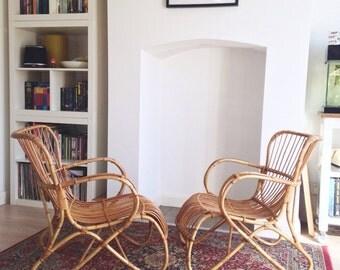 Dirk Van Sliedregt - Rhoe Rattan Club Chairs - Mid Century Modern - Danish - Vintage
