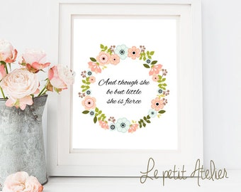 Printable art floral - lettering - floral  print - Wild -  floral - nursery printable - instant download - baby lettering - wall prints