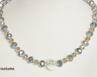 Glass Pearl Necklace with glass beads polished and sparkling crystal blue green changierent gold glitter