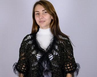 Bolero | Hand Knitted | Shawl | Black | Gift |