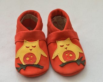 OWL, kids slippers, baby shoes, baby shoes, House shoes, leather shoes, children's shoes