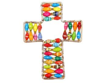 Paper Bead Cross Ornament
