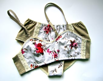 Floral Organic Cotton Lingerie set, Free Shipping!