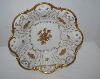 Reichenbach Vintage Porcelain Footed Bowl with Gold trim, fruit bowl, service bowl