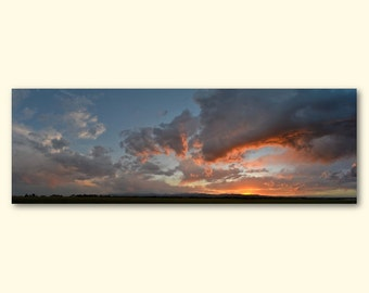 "Orange & Pink Sunset Panoramic - 60"" x 20"" Wrapped Canvas Print Photo"