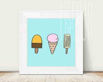 ICE CREAM DRAWING  | wall art | children room | children art | colorful print | digital download |
