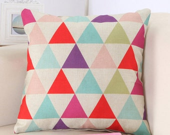 SALE! Triangle pop cotton Cushion cover 45 x 45 cm Red Blue Green Pink Purple was minimalist Scandinavian design