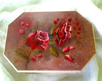 Original Oil Painting Flower Home decor Shabby Chick Gift for her *Red Rose Box*
