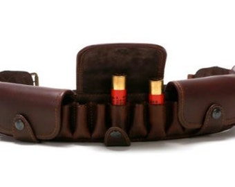Cartridge belt made of calf skin leather with flap closure