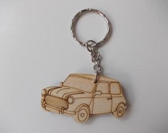 Mini Keyring Etched detail wooden