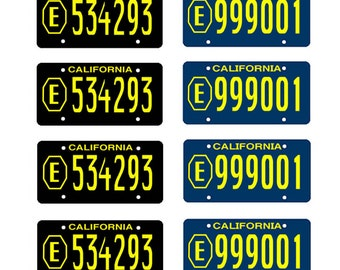 scale model Adam 12 Los Angeles police car license tag plates